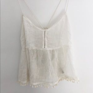FP White Sheer Gauze Cami Tank Top With Pom-Poms